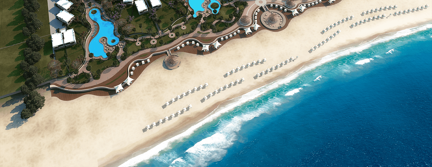 white-bay-bird-eye-view-drone-shot-beach-resort