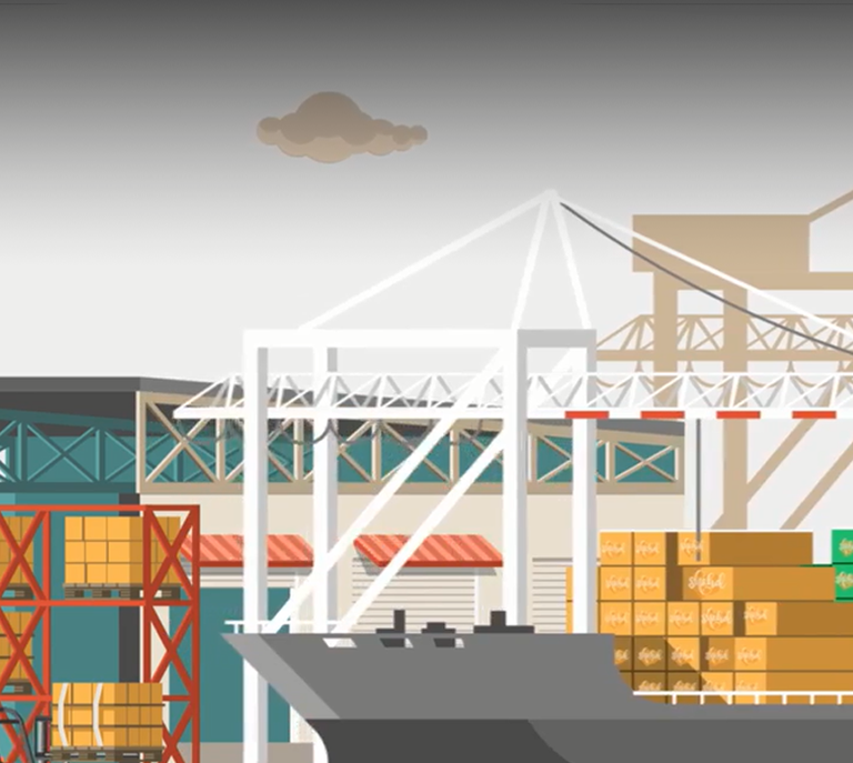 united-oil-shipping-dock-animation-video-screenshot