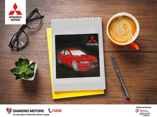 mitsubishi-egypt-drawing-with-coffee-notebook-pen-plant-design